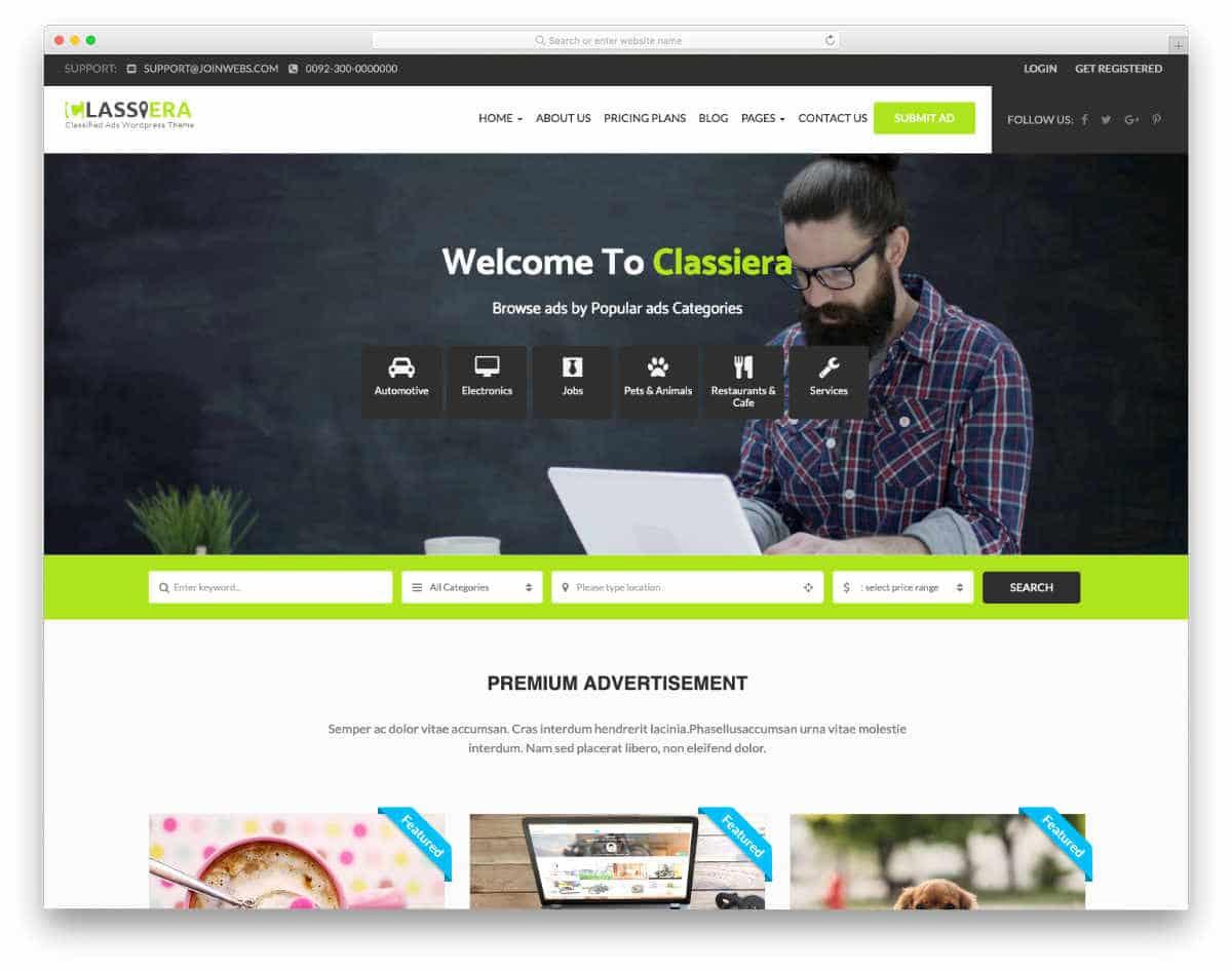 multipurpose classifieds website template