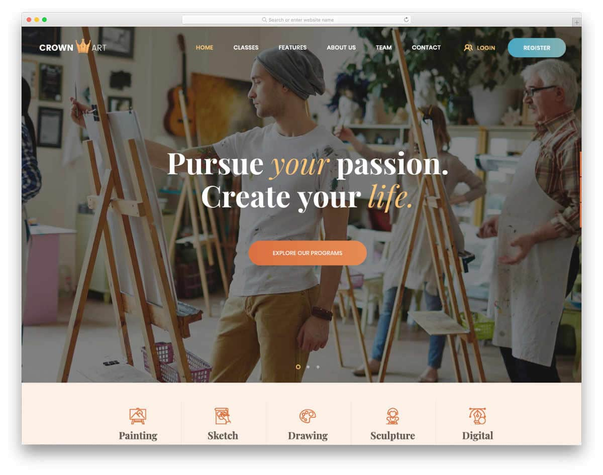 academic websites templates for arts