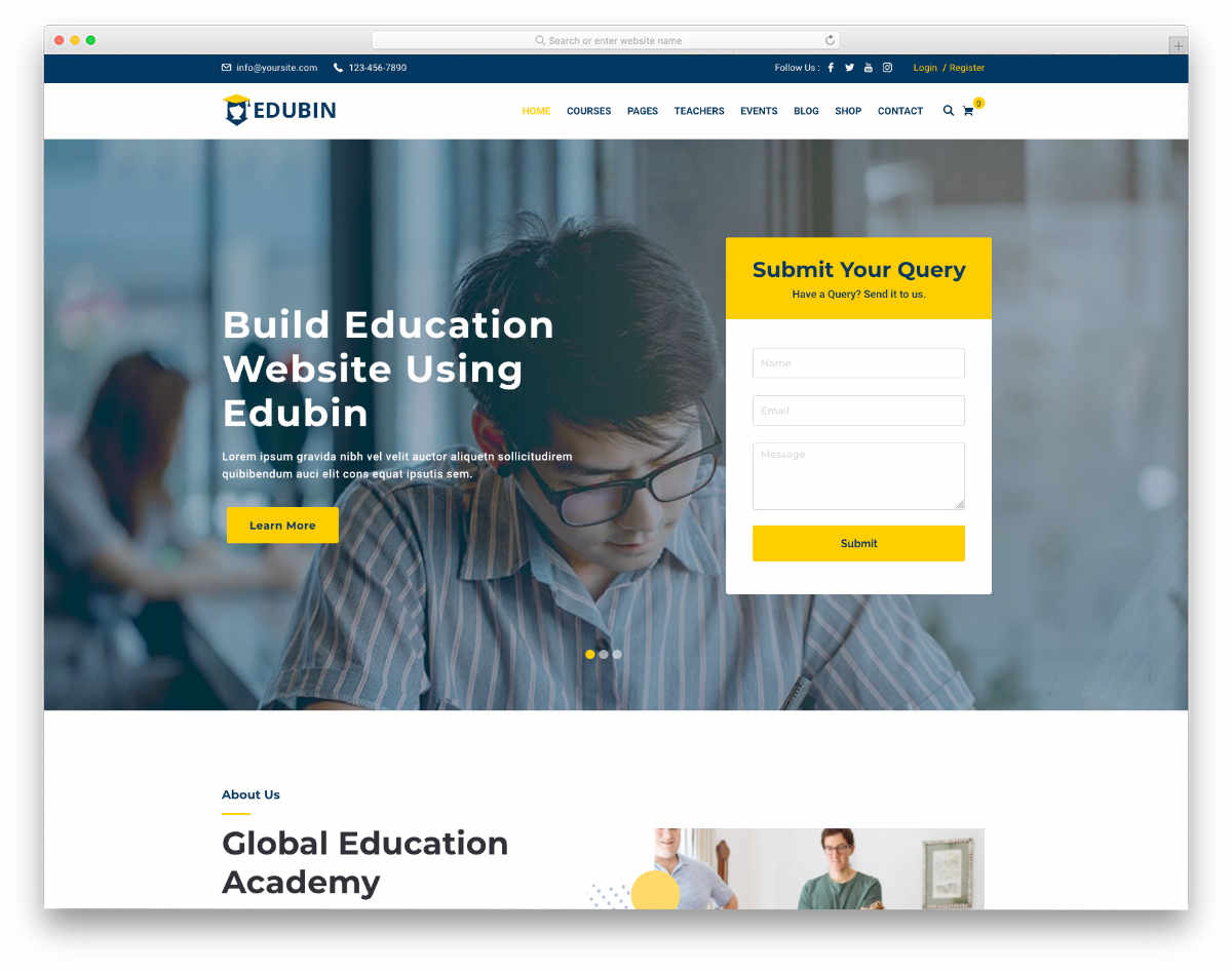professional looking education website template