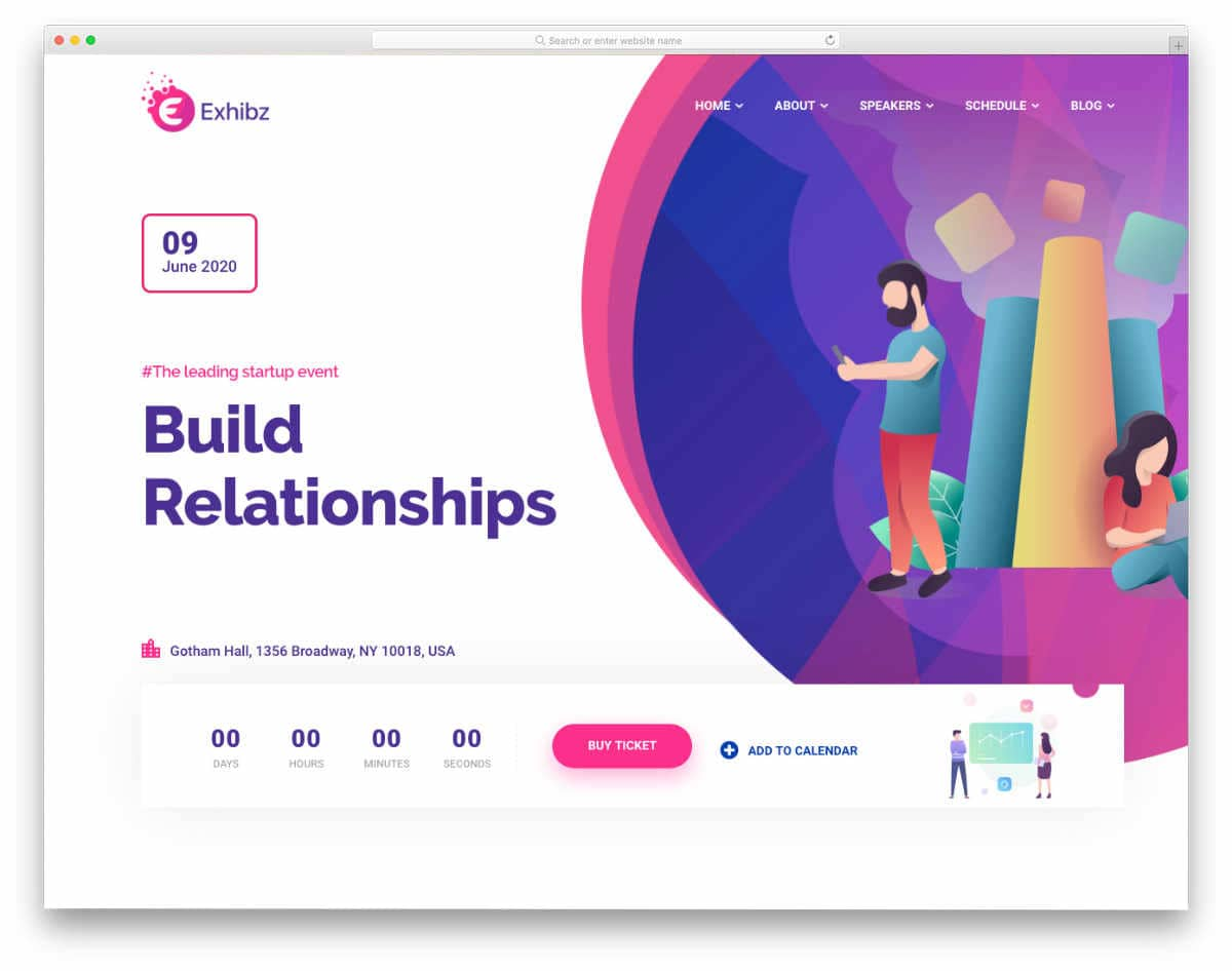 colorful and interactive event website templates