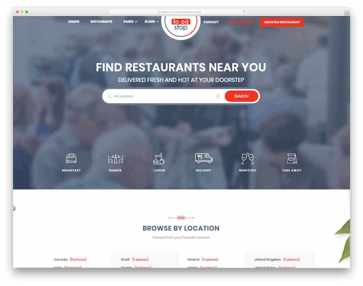 directory website template for food and restauratnt busniesses