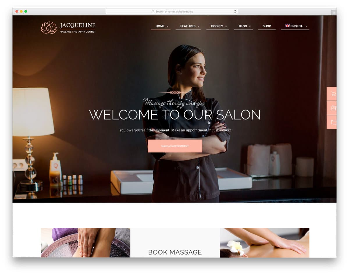 appointment scheduling website template for spas and salons