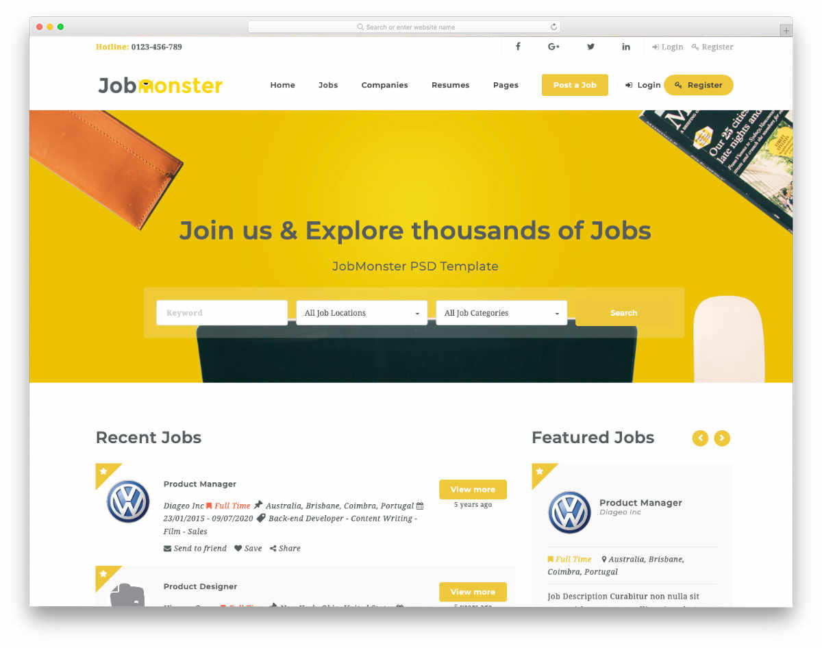 job listing and classifieds website templates