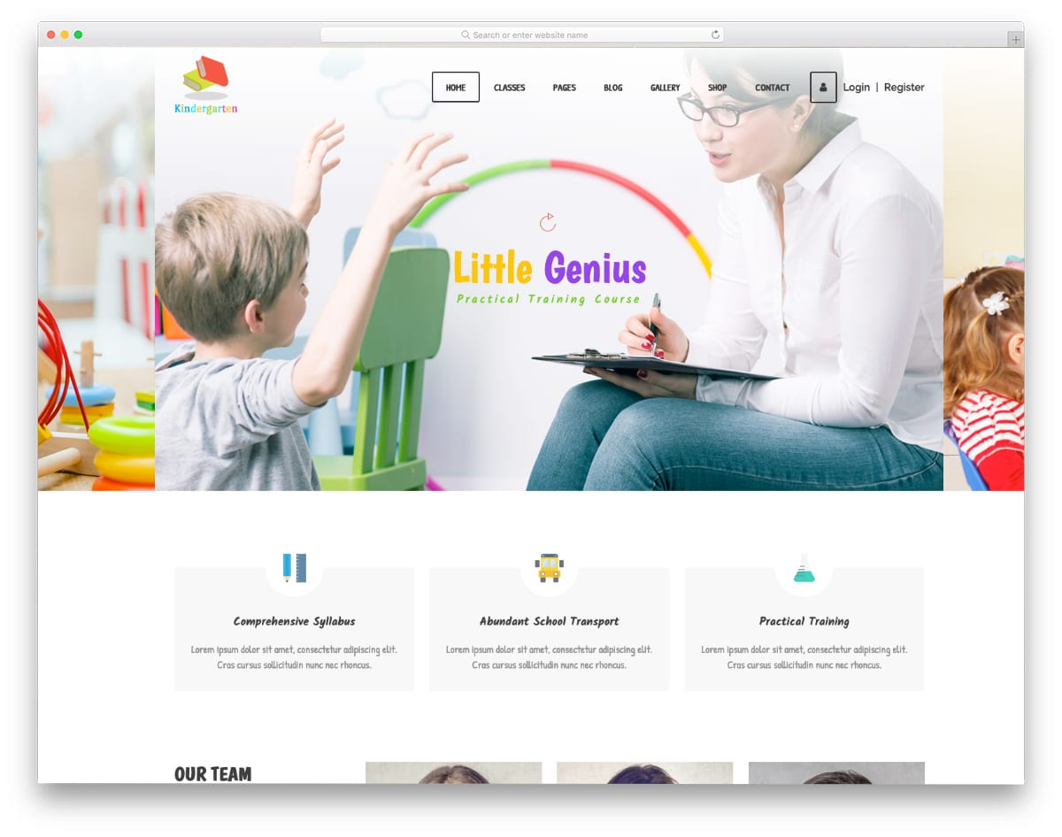 website template with learning management system