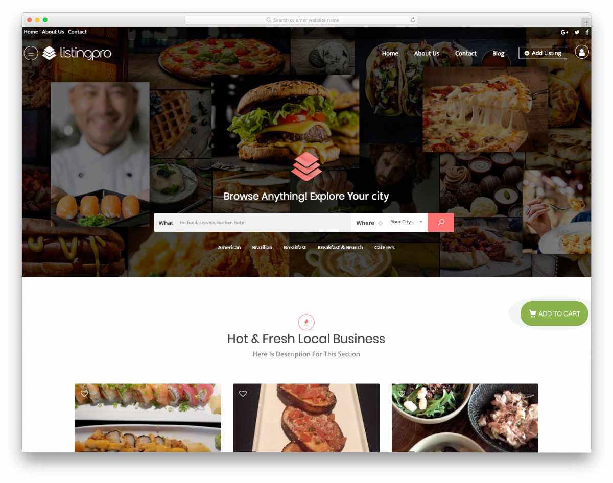 database website templates for restaurants