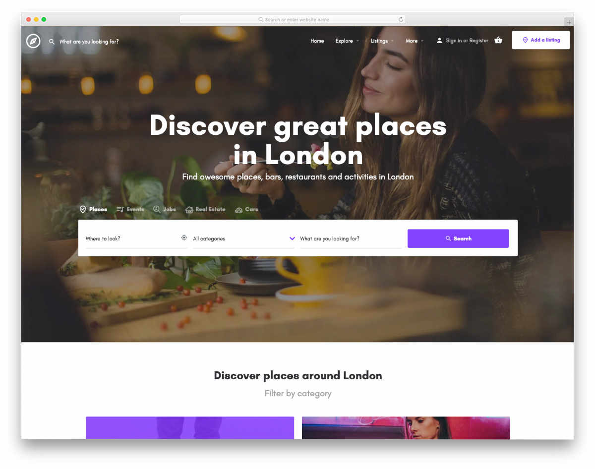 website header design templates with search tools