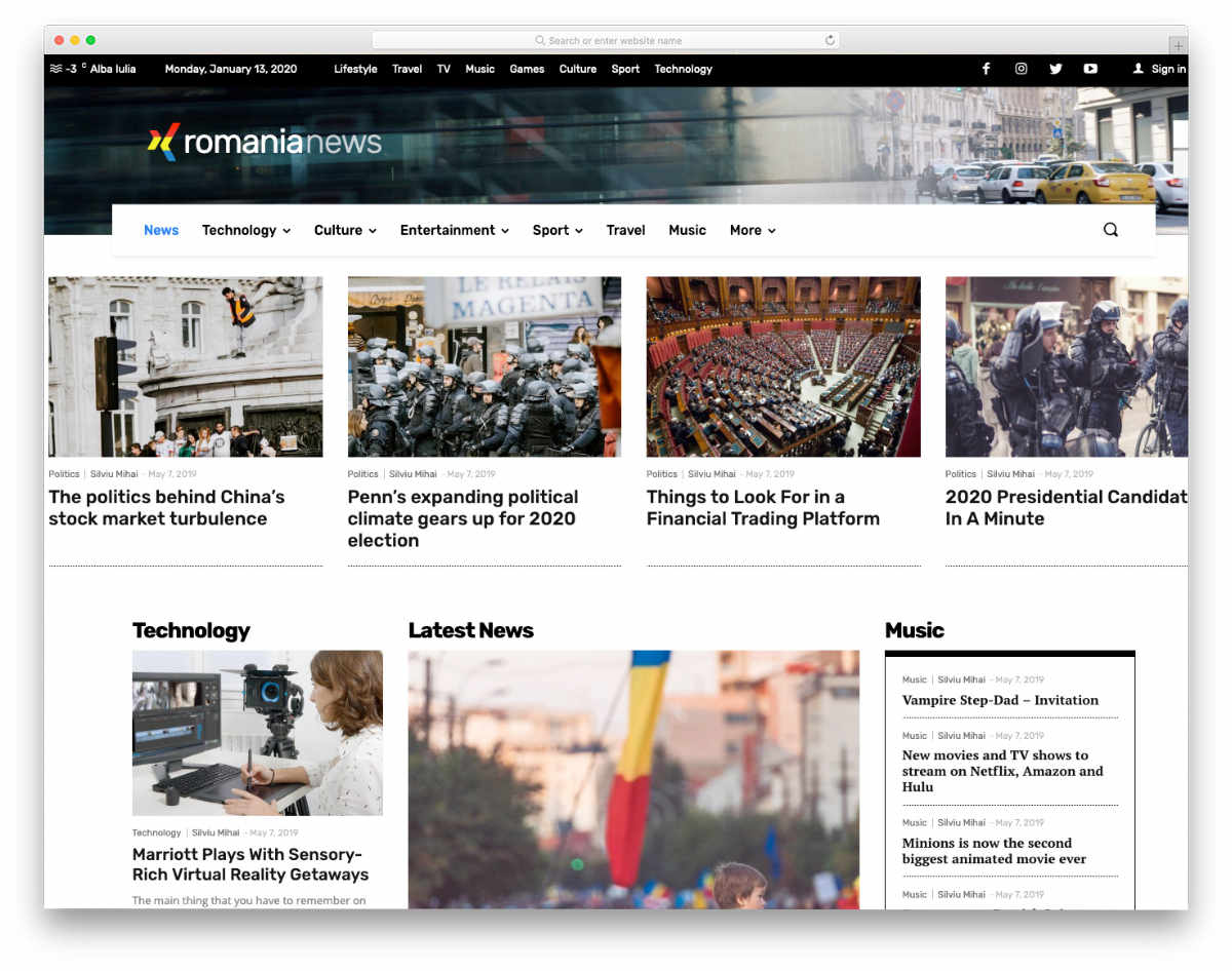news website template with dynamic elements