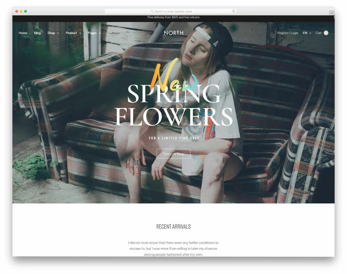 website template for small boutiques and online stores