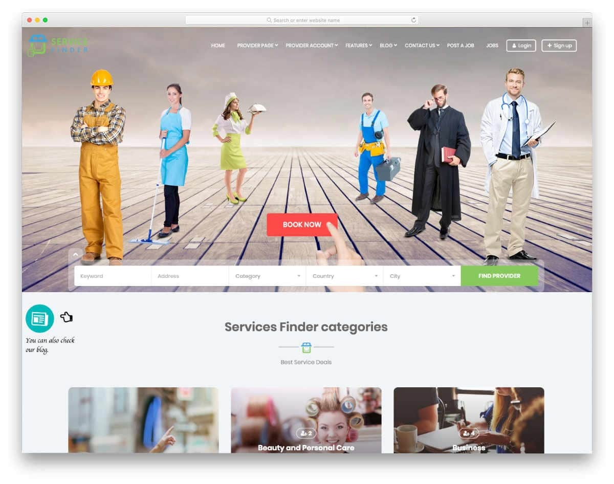 directory website template with booking options