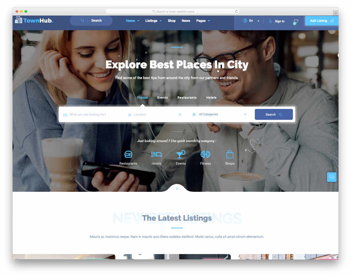 react website templates for places listing website