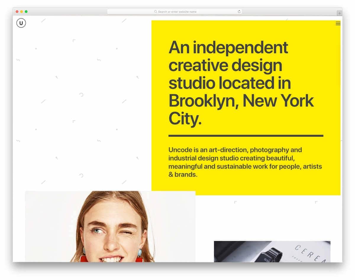 unique header design for creative agencies