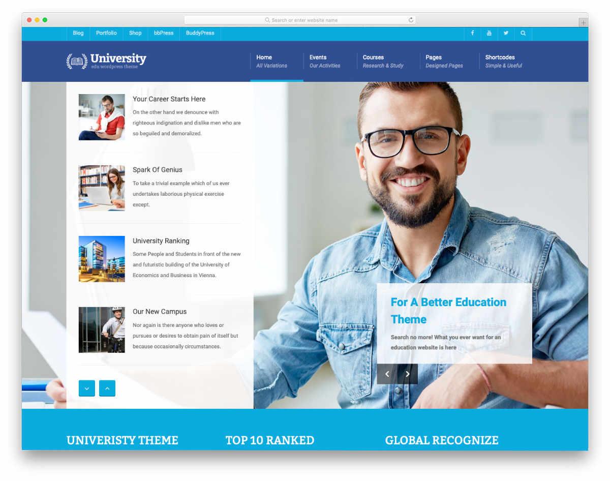 academic websites templates for universities