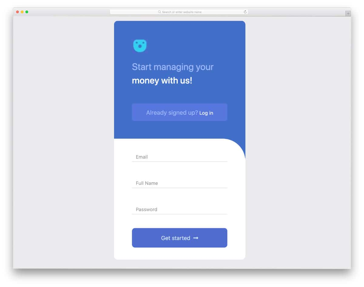 login page for apps