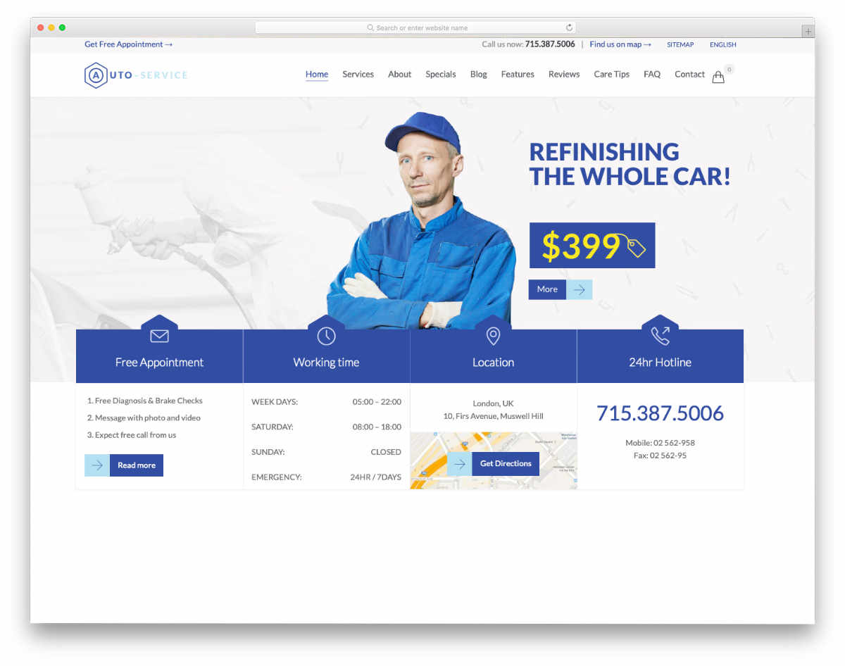 one website template for all auto repair and auto detailing services