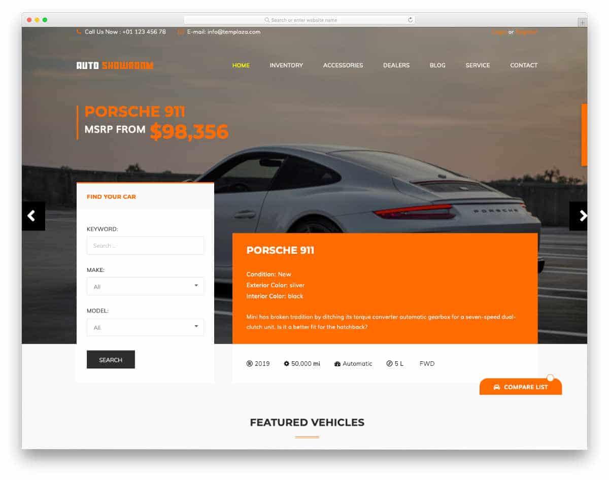 colorful car dealer website template