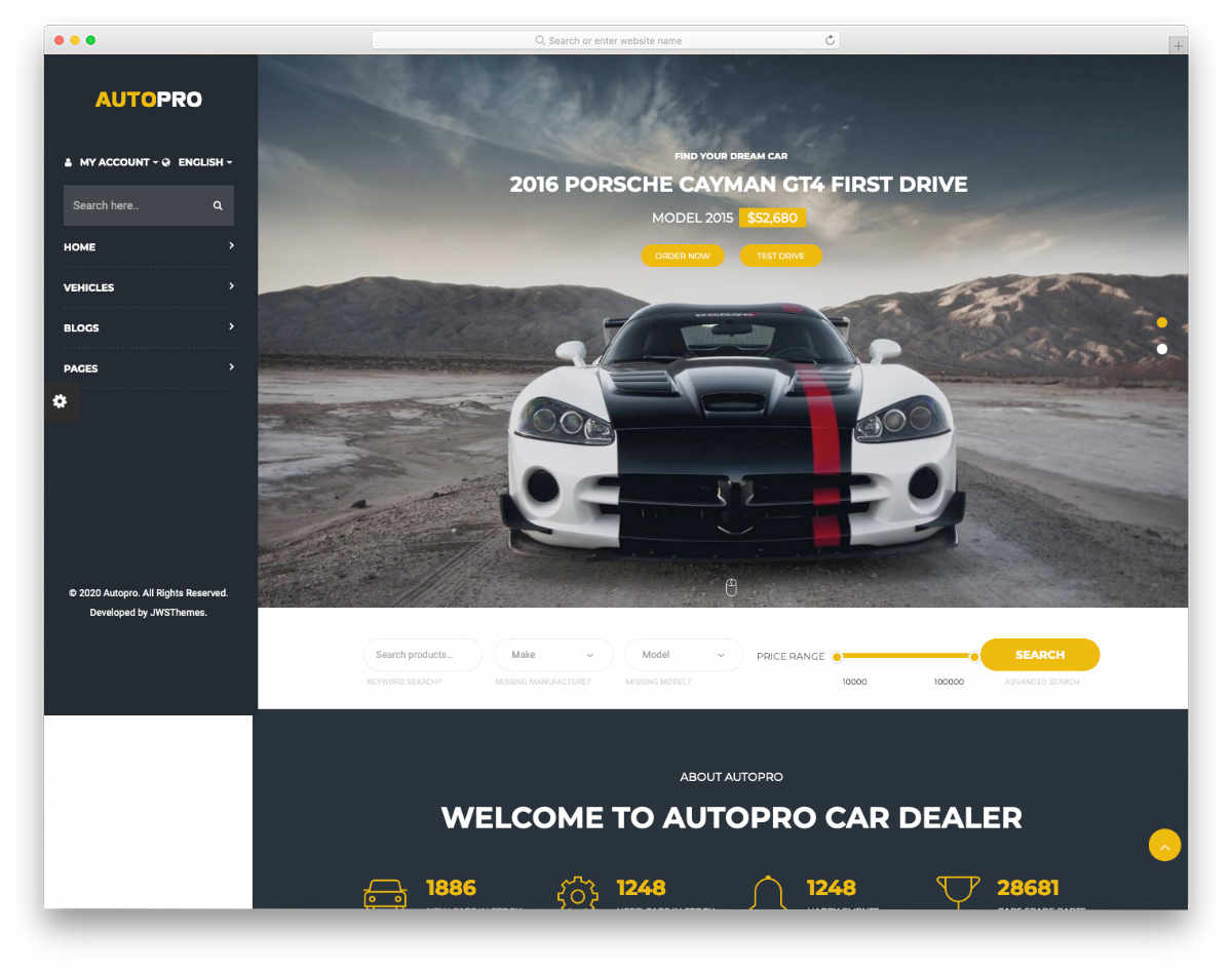 car dealer website template with multiple layouts