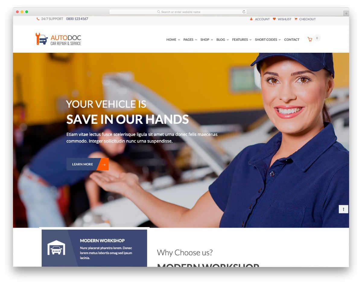 multipurpose auto service website template
