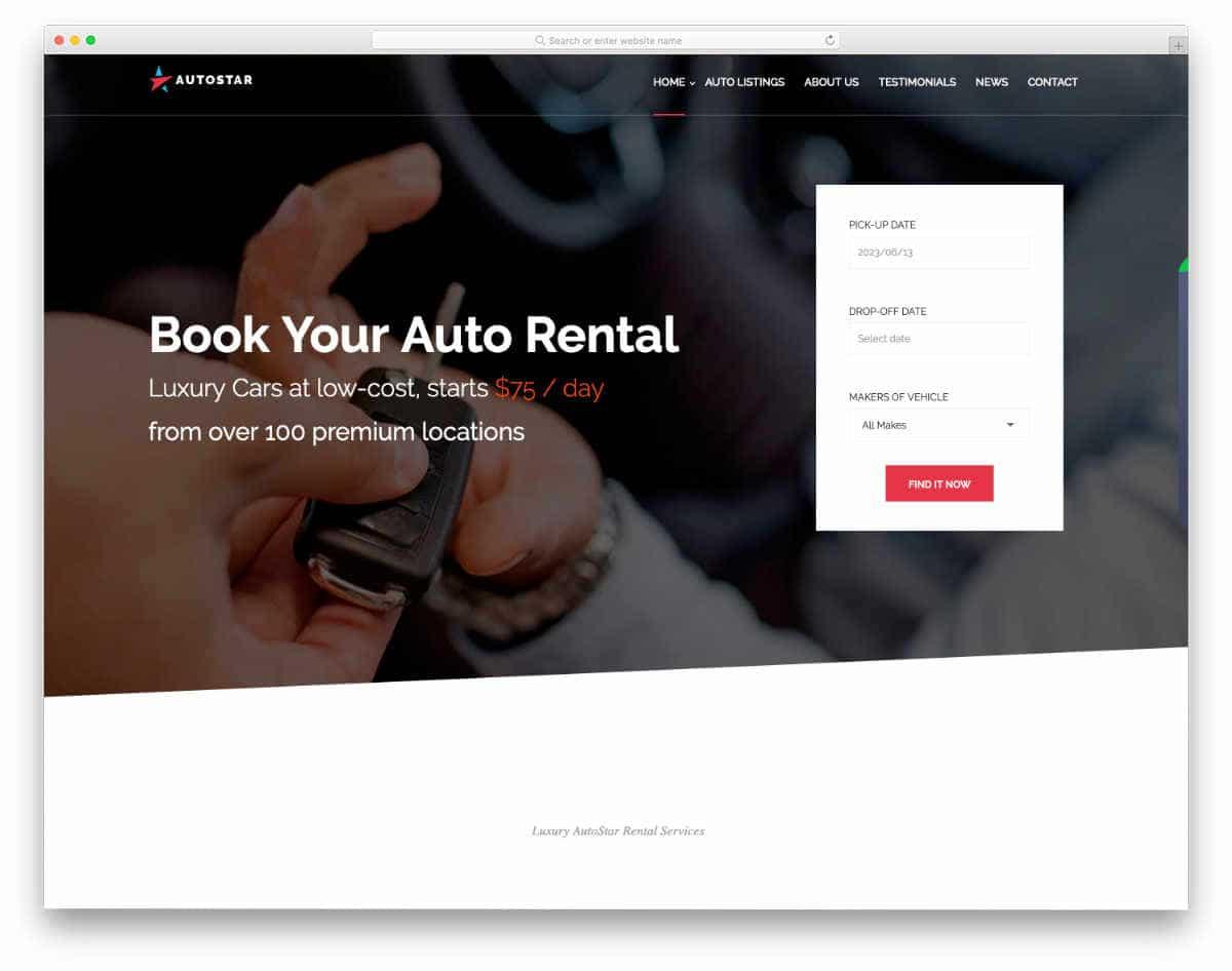 clean car rental website template