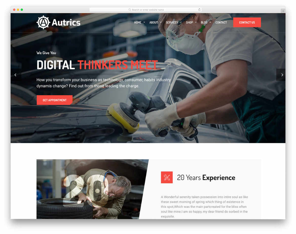 auto detailing website template with useful features
