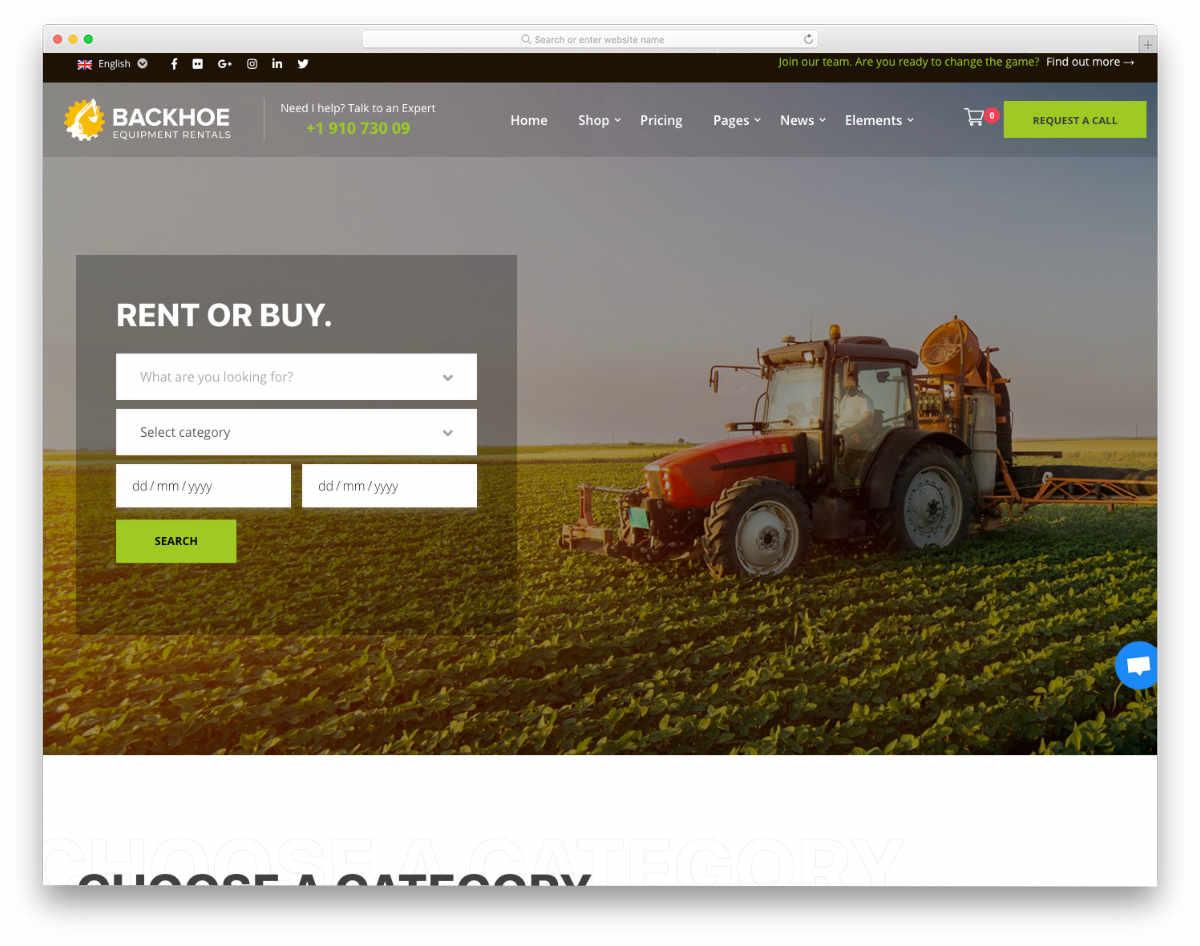 equipment rental WordPress theme