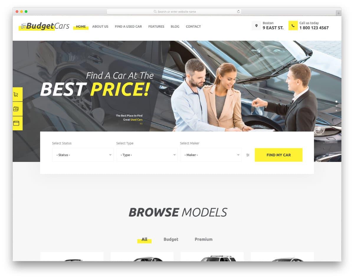 used car dealer website templates