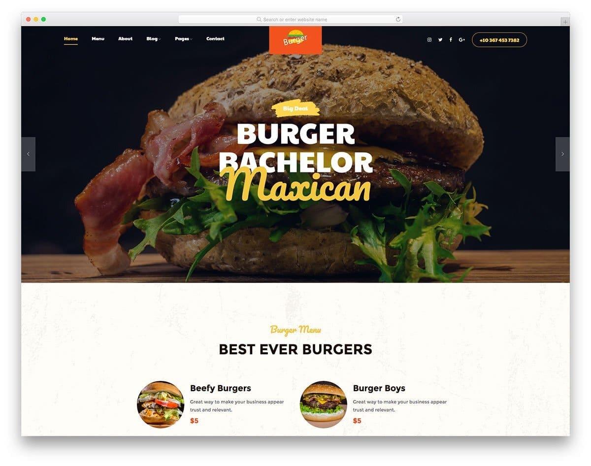 header design for fastfood websites