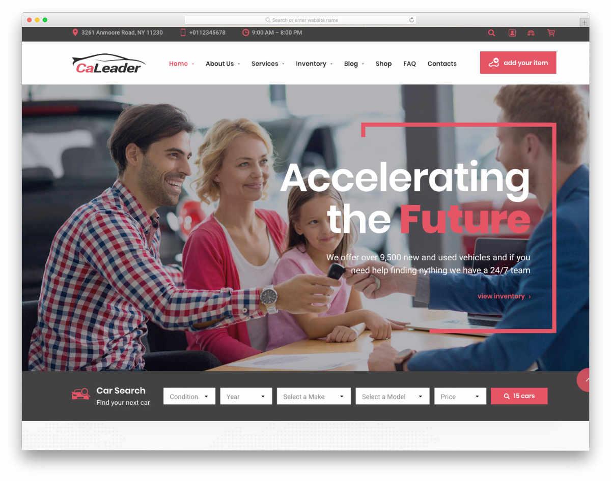 user-friendly car dealer website template