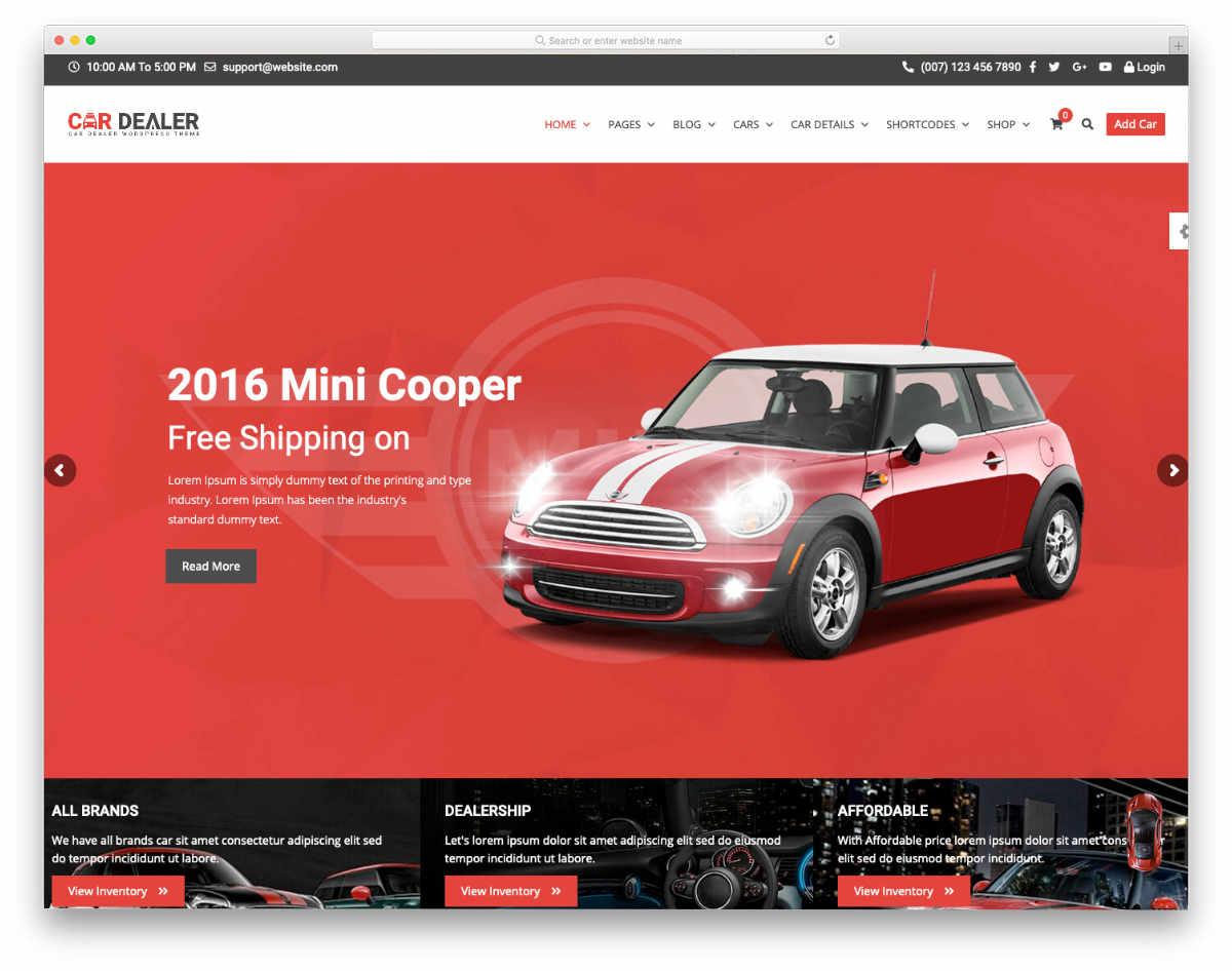 car dealer website template with multiple demos