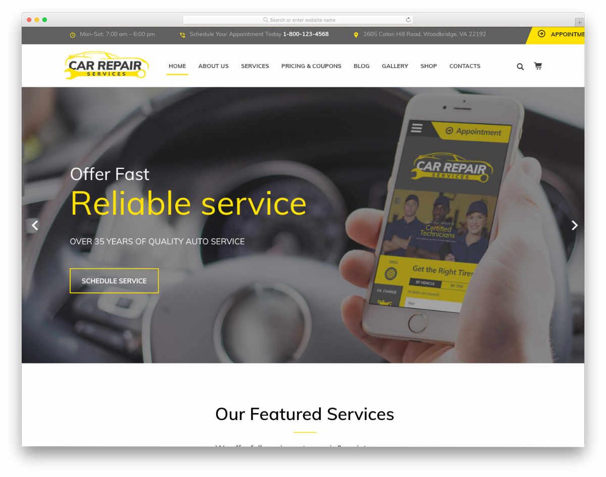 multipurpose car service website template