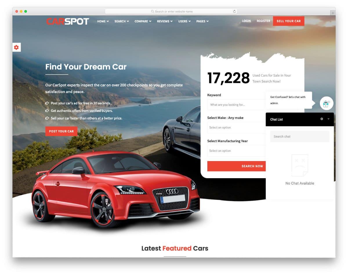 feature-rich car dealer website template