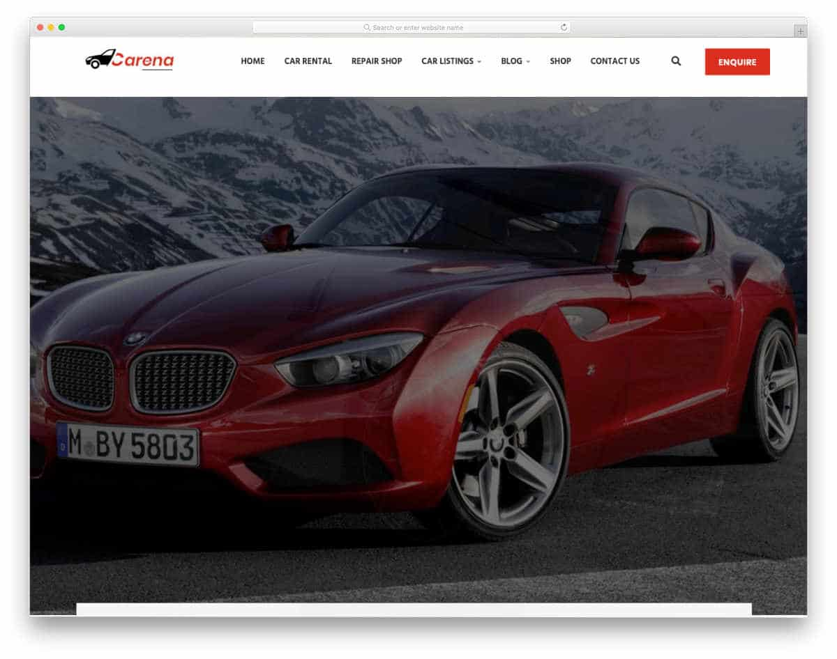 car and equipment rental website template