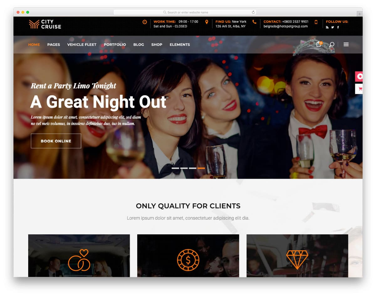 party limo rental website template