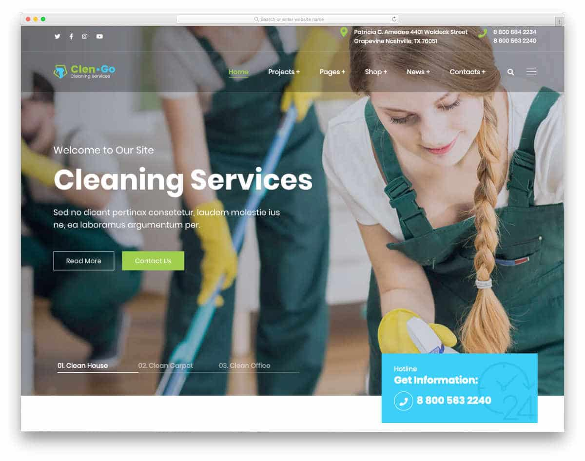 professional looking cleaning service business website template