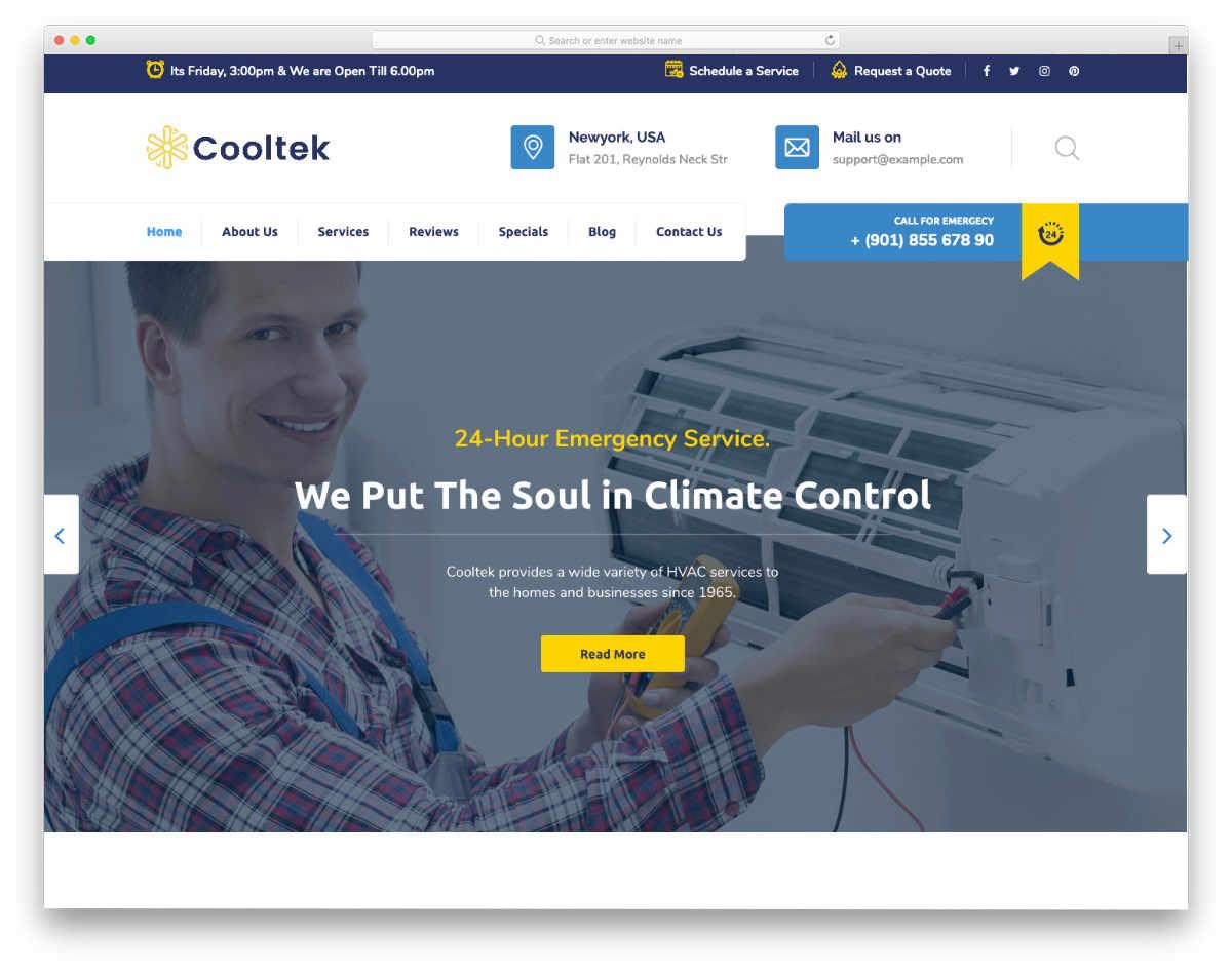 feature-rich HVAC website template