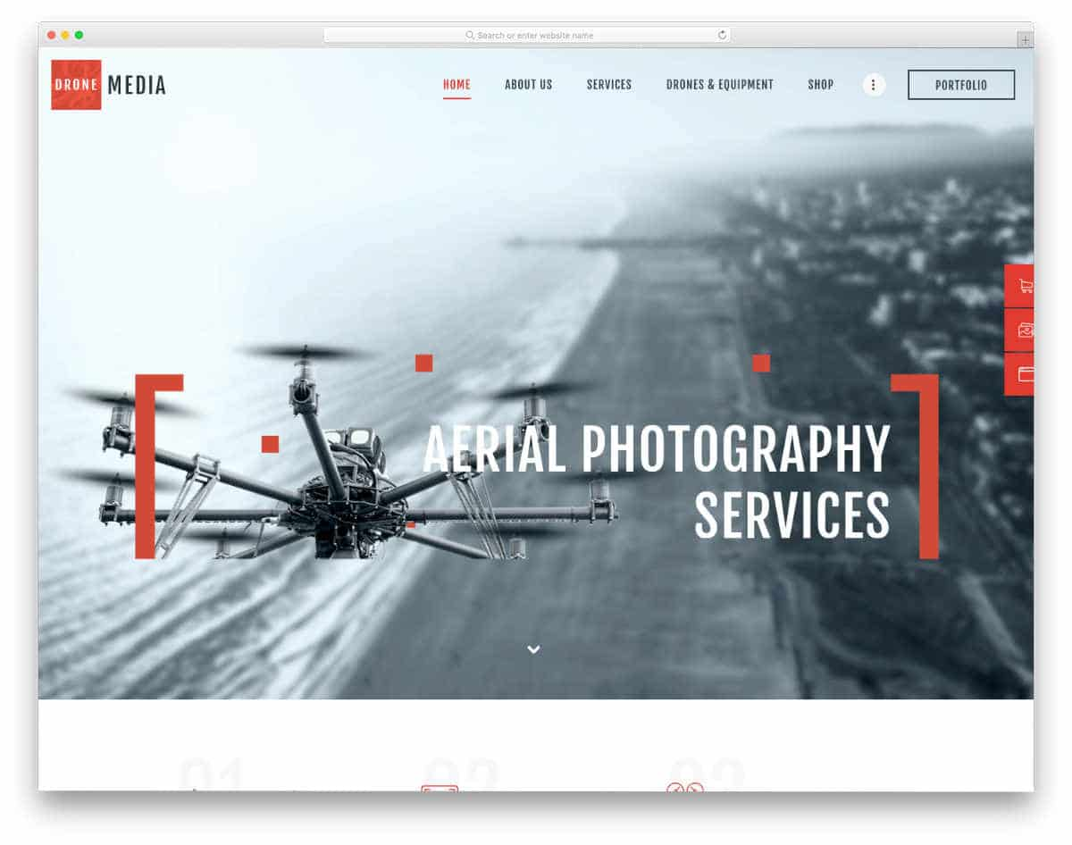 website template for drone video and photography service websites
