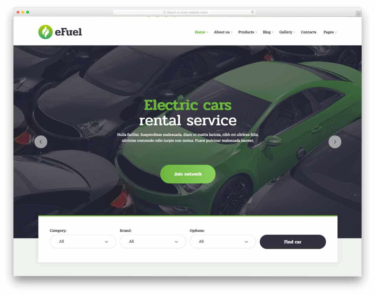 electric vehicle and equipment rental website template