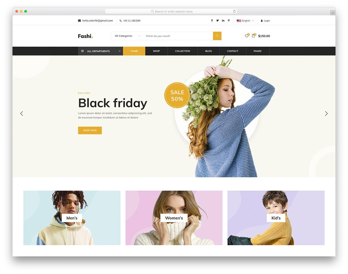 header design for eCommerce site