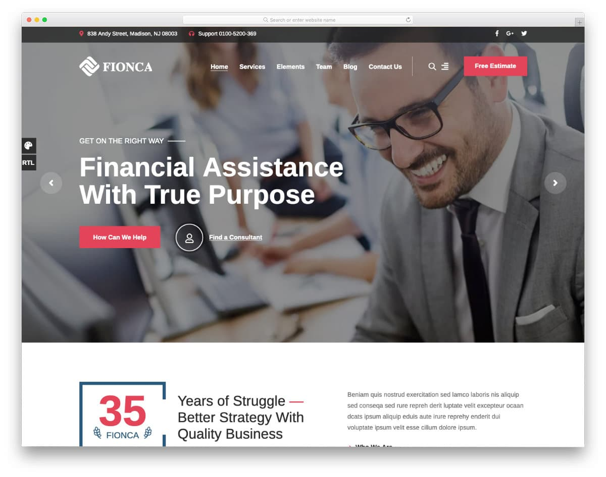 modern finance website template