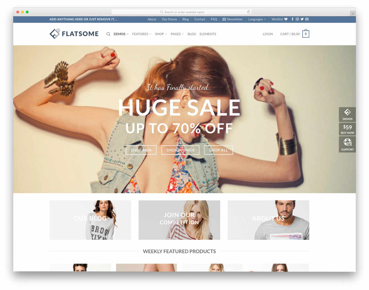 flat style ecommerce website template