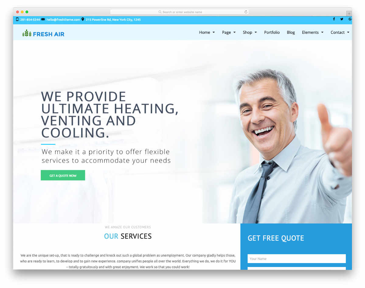 website template with a promotional design
