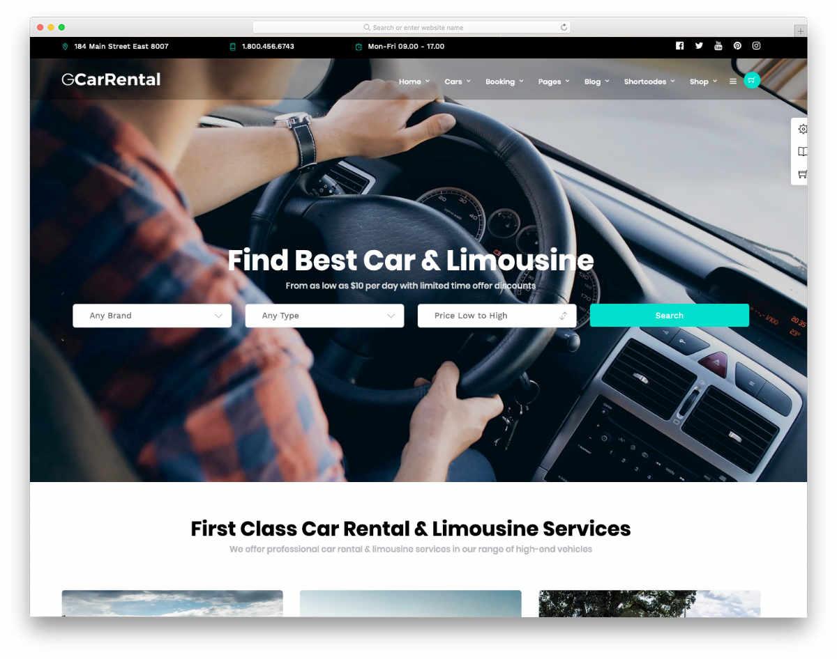 website template for car rental and car dealer websites