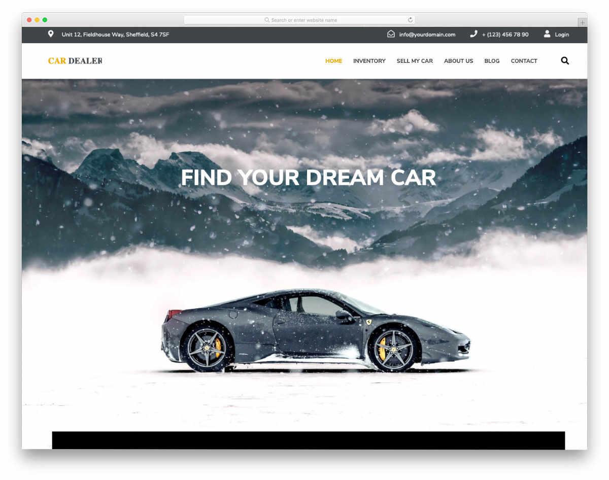 car dealer website template with multiple customization options