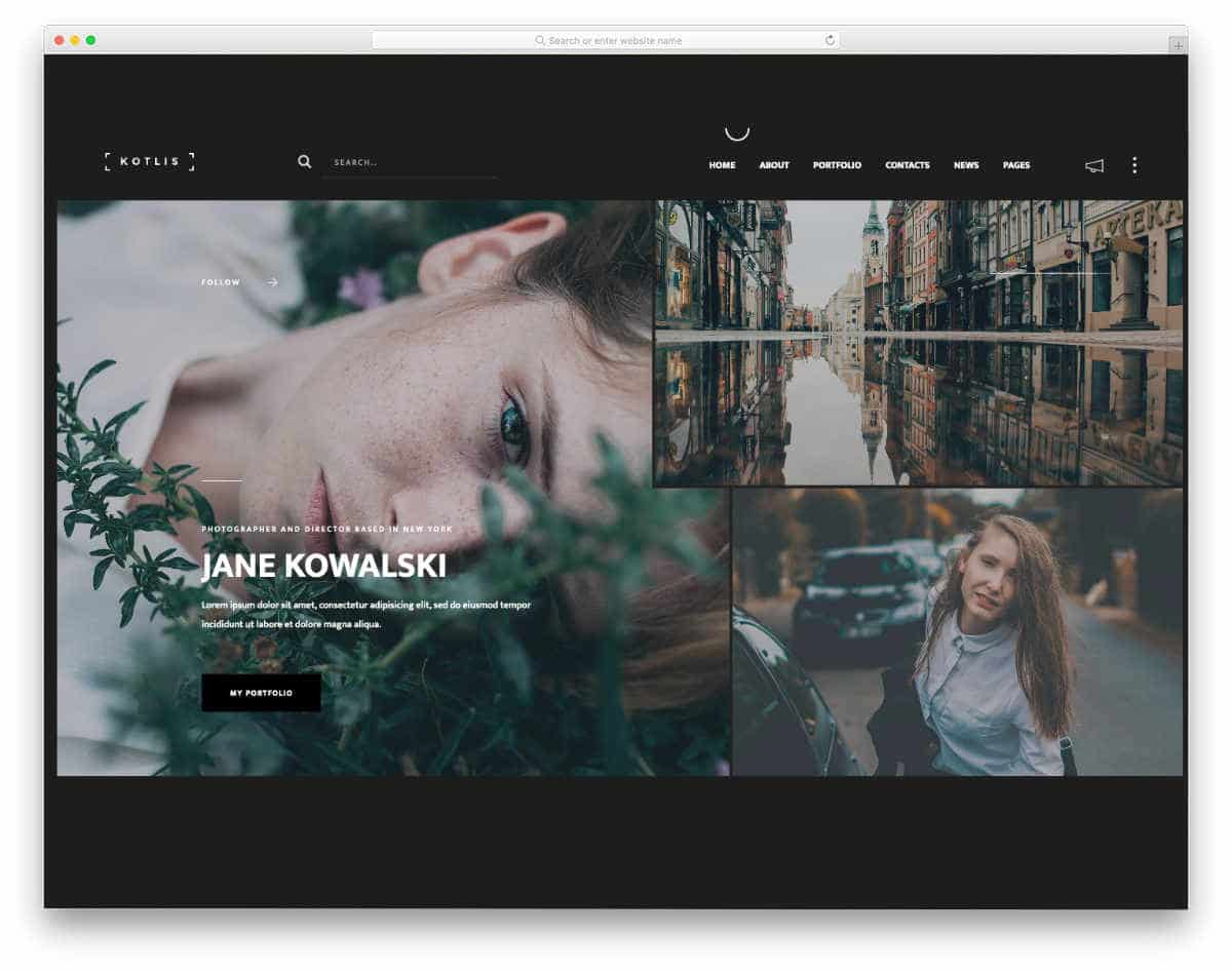 videographer web templates with different gallery designs