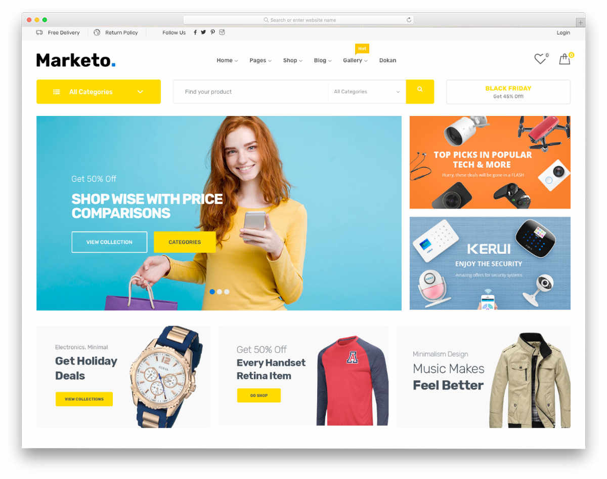 marketplace website template