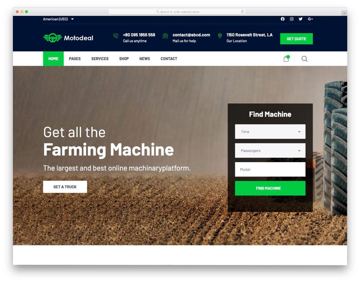farming equipment rental website template