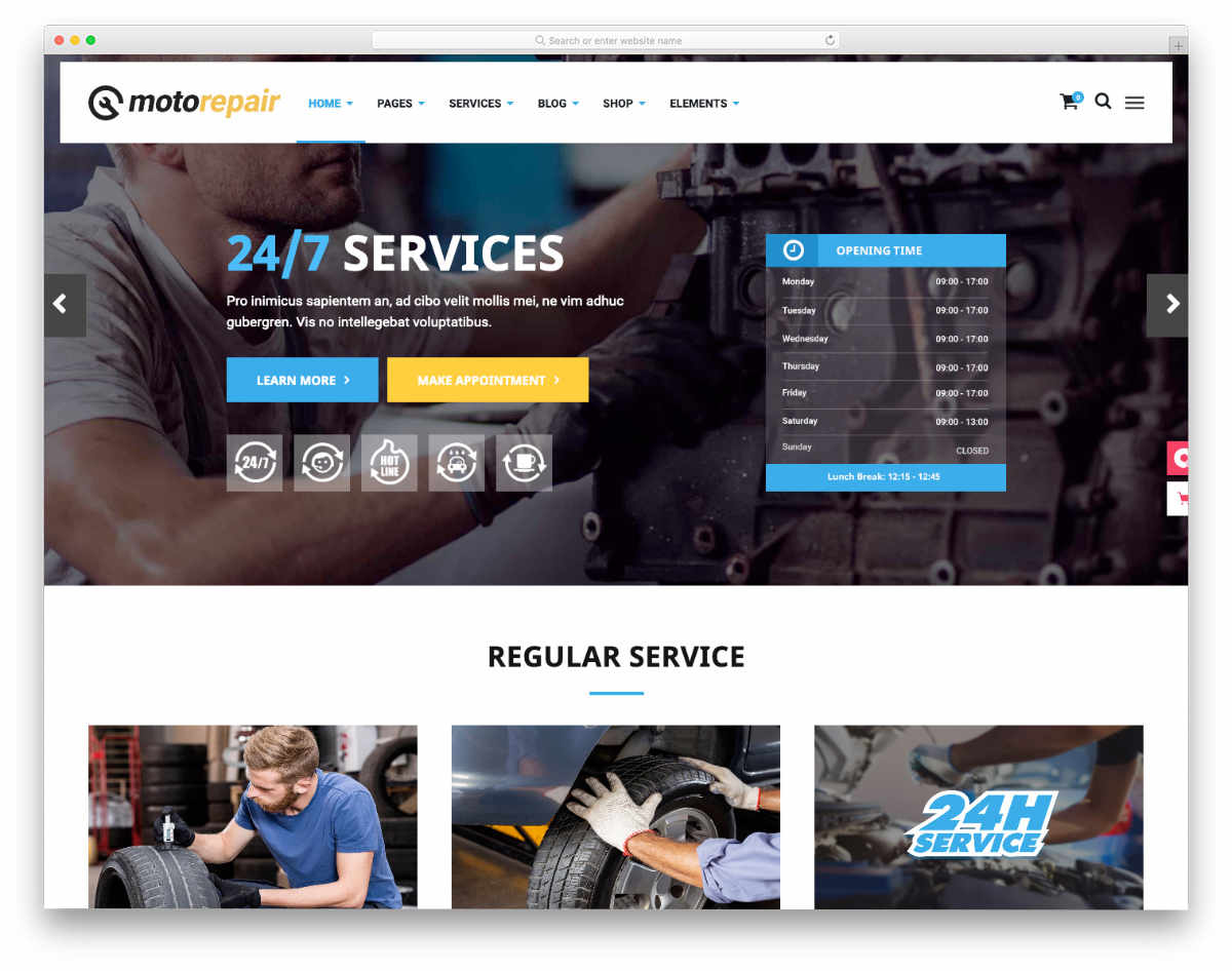 auto service website template with useful features