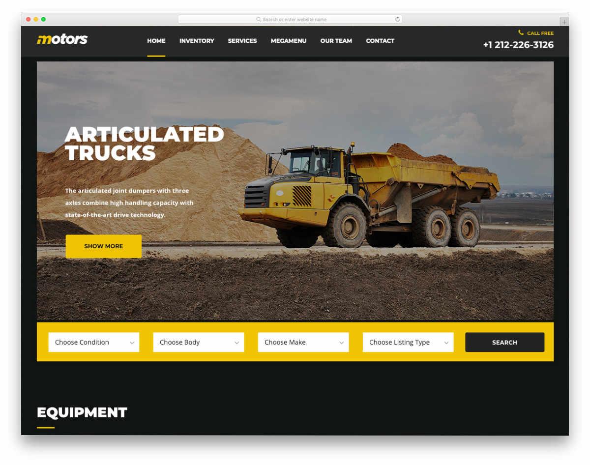 equipment rental website template with multiple demos