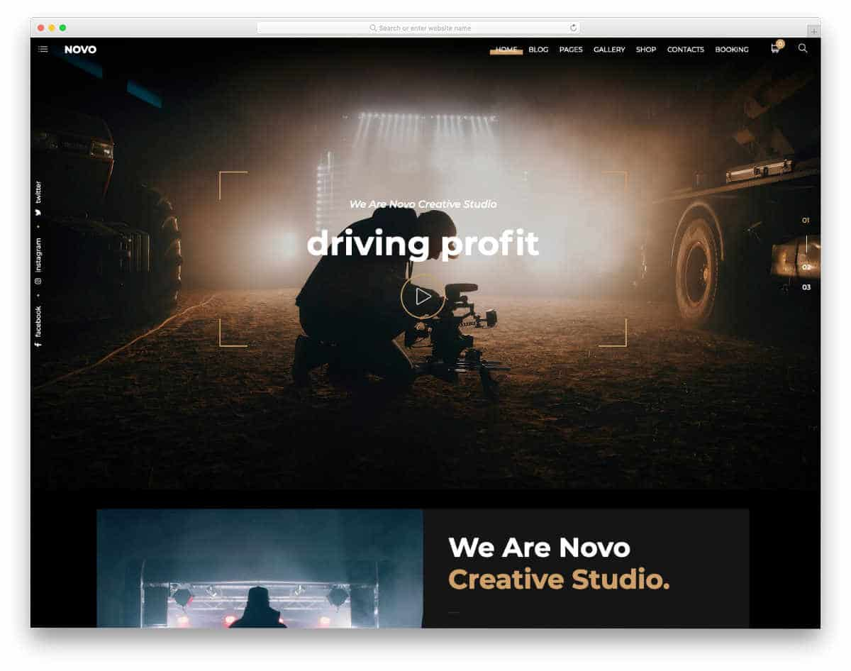 videographer web templates with essentional elements