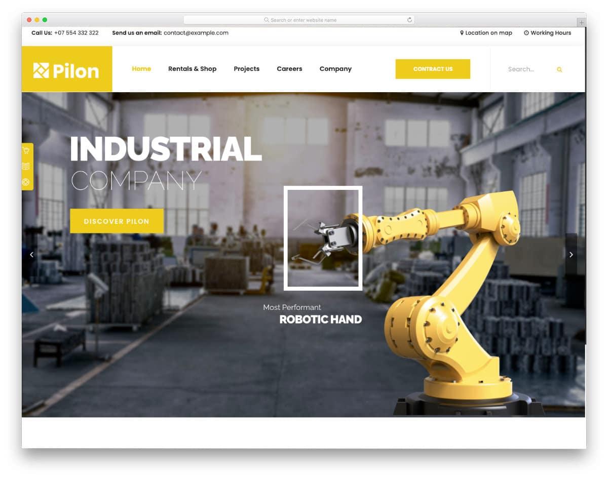 industrial equipment website templmate