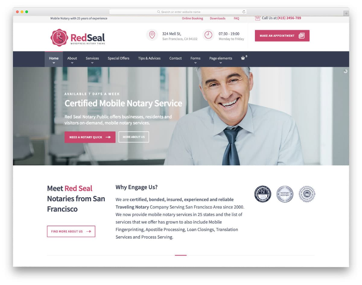 friendly notary website template